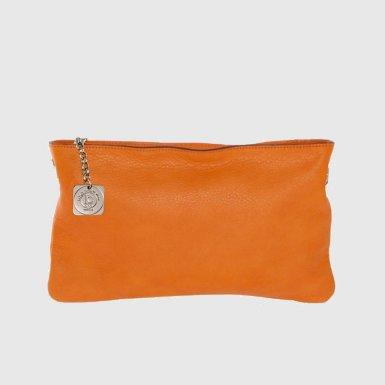 Clutch bag body: Orange smooth calfskin leather