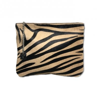 Clutch bag body: Pony-effect fur with Black and Cappuccino zebra pattern