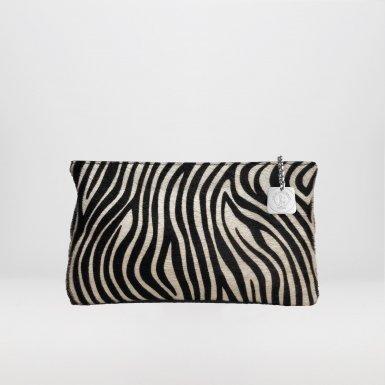 Clutch bag body: Pony-effect fur with Black and Ecru zebra pattern
