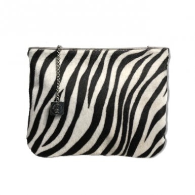 Clutch bag body: Pony-effect fur with Black and Ecru zebra pattern