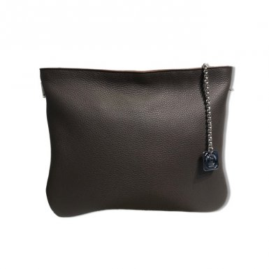 Clutch bag:Coffee bullcalf leather