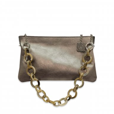 CLUTCH - METALIC BRONZE LEATHER & TAUPE PLASTIC CHAIN
