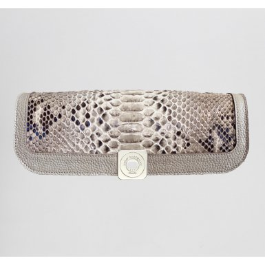DREAM PRESTIGE FLAP - TAUPE  FULL-GRAIN & GLOSSY TAUPE SNAKE & UNDERSIDE IN LEATHER FINISH