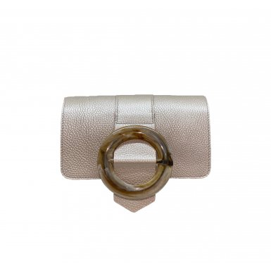 GUS BUCKLE FLAP - SILVER FULL-GRAIN & TAUPE RESIN & SILVER FULL-GRAIN & LEATHER