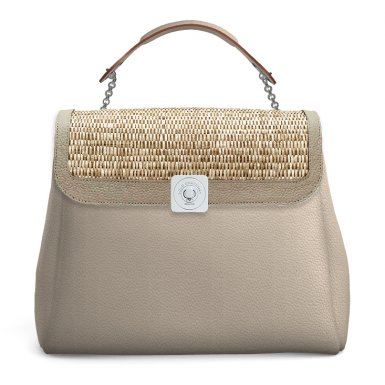 LARGE BAG - TAUPE FULL-GRAIN & DREAM FLAP - TAUPE FULL-GRAIN AND WOVEN FABRIC & HAND-CARRY HANDLE - TAUPE FULL-GRAIN