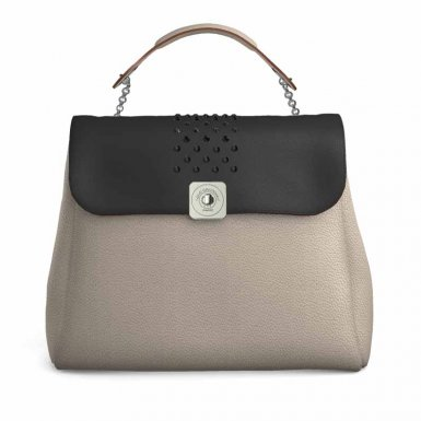 LARGE BASE - TAUPE - STRASS  FLAP - BLACK SMOOTH & HEMATITE & BLACK-ECRU FUR - HAND-CARRY HANDLE - TAUPE
