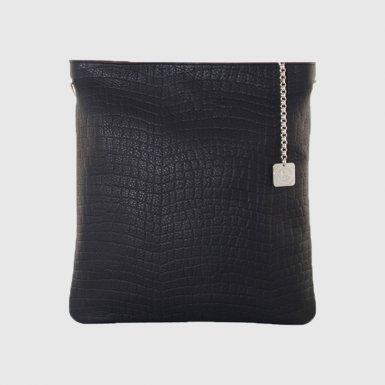 Large clutch bag: Black alligator-effect bullcalf leather