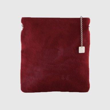 Large clutch bag body: Black pony-effect fur