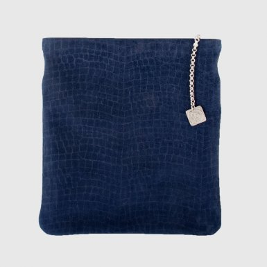 Large clutch bag body: Blue alligator-effect nubuck