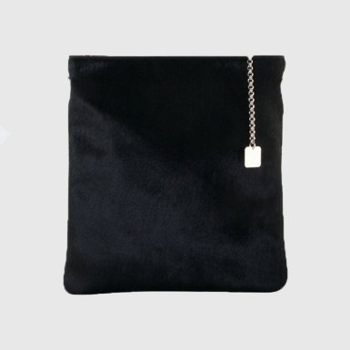 Large clutch bag body: Red pony-effect fur