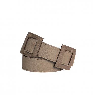 LARGE SHOULDER STRAP 95 SQUARES - TAUPE  FULL-GRAIN & TAUPE CROCO & UNDERSIDE IN LEATHER FINISH