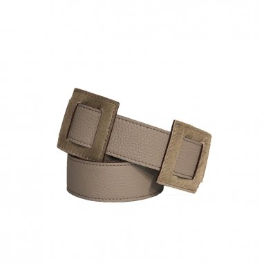 LARGE SHOULDER STRAP 95 SQUARES - TAUPE  FULL-GRAIN & TAUPE FUR & UNDERSIDE IN LEATHER FINISH