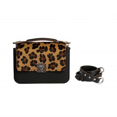 LITTLE BAG Black - Black & Camel GUS FLAP - Black HAND-CARRY Handle - Black Leather STRAP