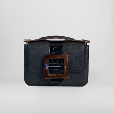 LITTLE BAG - BLACK & GUS BOUCLE CARREE FLAP - BLACK AND BROWN & HAND-CARRY HANDLE - BLACK