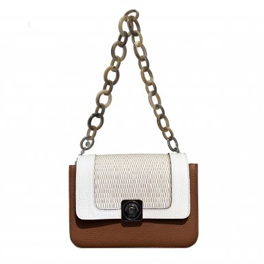 LITTLE BAG Camel & Black - GUS DREAM FLAP White & White woven fabric - SHOULDER-CARRY HANDLE Taupe Plastic