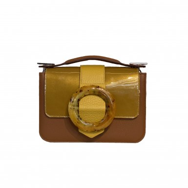 LITTLE BAG - CAMEL & GUS BOUCLE CIRCLE FLAP - GOLD AND MUSTARD & HAND-CARRY HANDLE - CAMEL