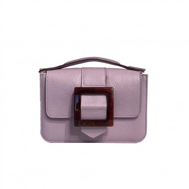 LITTLE BAG - PURPLE & GUS BOUCLE CARREE FLAP - PURPLE AND BROWN & HAND-CARRY HANDLE - PURPLE