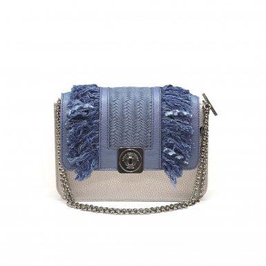 LITTLE BAG Silver - GUS BOBO FLAP Denim Blue - Chain Strap