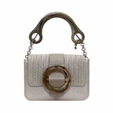 LITTLE BAG Silver - GUS BUCKLE FLAP Taupe & Taupe Buckle - HAND-CARRY HANDLE Plastic