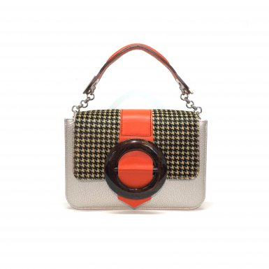 LITTLE BAG Silver - GUS CIRCLE FLAP Houndstooth & Mango Circle - SMALL HANDLE mango
