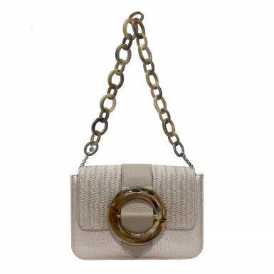 LITTLE BAG Silver - GUS CIRCLE FLAP Taupe & Taupe Circle - SHOULDER-CARRY HANDLE Plastic chain