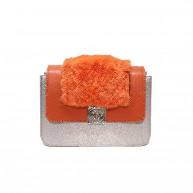 LITTLE BAG - SILVER - GUS DREAM FLAP - MANGO SMOOTH & ORANGE FUR - LARGE STRAP - MANGO SMOOTH & ECRU SMOOTH