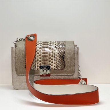 LITTLE BAG Silver - GUS DREAM FLAP python taupe - LARGE STRAP mango