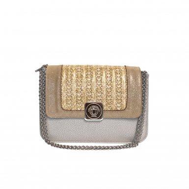 LITTLE BAG Silver - GUS DREAM FLAP Sand & Honey woven fabric - Chain STRAP