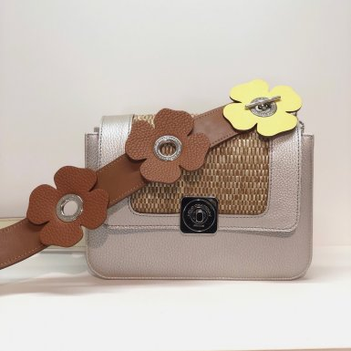 LITTLE BAG Silver - GUS DREAM FLAP Silver & Camel - CLOVER STRAP camel