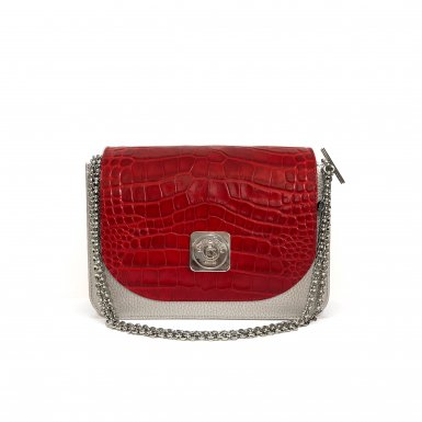 LITTLE BAG Silver - TIPSY FLAP red croco-effect leather - Chain STRAP