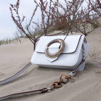 LITTLE BAG - WHITE FULL-GRAIN & GUS BOUCLE FLAP - WHITE FULL-GRAIN AND PLASTIC BUCKLE & STRAP - WHITE FULL-GRAIN AND PLASTIC CHAIN