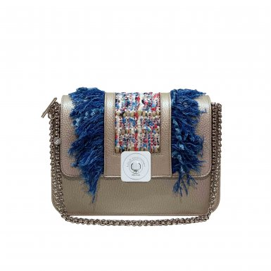 LITTLE BASE - SILVER FULL-GRAIN & GUS BOBO FLAP - SILVER FULL-GRAIN AND BLUE JEAN FRINGES AND MULTICOLOR TWEED & CHAIN STRAP