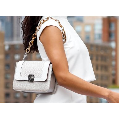 LITTLE - SILVER & GUS DREAM FLAP - WHITE AND WHITE WOVEN FABRIC & SHOULDER-CARRY HANDLE TAUPE PLASTIC