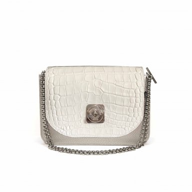 LITTLE - SILVER & GUS TIPSY FLAP - WHITE & CHAIN STRAP