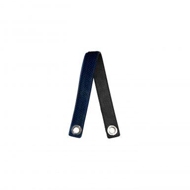 LONG FLAT HANDLE BLACK & BLUE HERRINGBONE FUR & SMOOTH BLACK