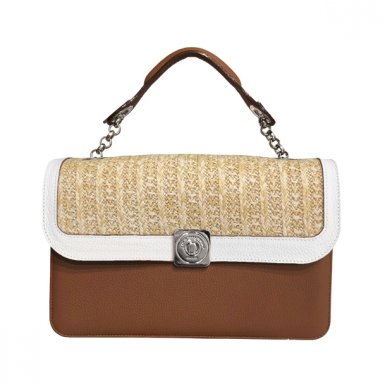 MIDDLE BASE camel - DREAM FLAP White & Honey woven Fabric - HAND-CARRY HANDLE camel
