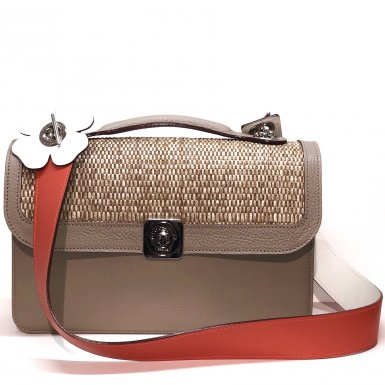 MIDDLE BASE taupe - ROCK FLAP taupe & paille - LARGE STRAP mango