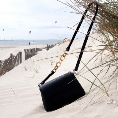 MINI BAG - BLACK FULL-GRAIN & LEATHER AND RESIN STRAP - BLACK AND TAUPE