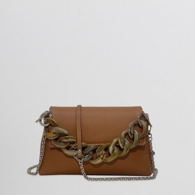 MINI BAG - CAMEL FULL-GRAIN & RESIN CHAIN HAND-CARRY HANDLE - TAUPE & CHAIN AND LEATHER STRAP - CAMEL FULL-GRAIN