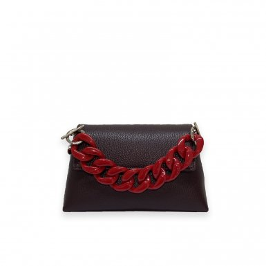 MINI BAG - GRANET FULL-GRAIN & RESIN CHAIN HAND-CARRY HANDLE - RED & CHAIN AND LEATHER STRAP - GRANET FULL-GRAIN