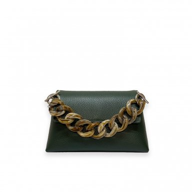 MINI BAG - GREEN FULL-GRAIN & RESIN CHAIN HAND-CARRY HANDLE - TAUPE & CHAIN AND LEATHER STRAP - GREEN FULL-GRAIN
