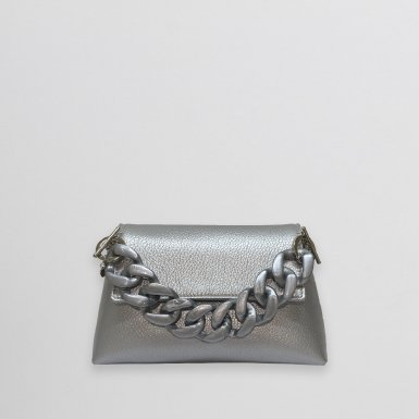 MINI BAG - SILVER FULL-GRAIN & RESIN HAND-CARRY HANDLE - SILVER & CHAIN AND LEATHER STRAP - SILVER