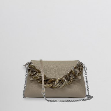 MINI BAG - TAUPE FULL-GRAIN & RESIN CHAIN HAND-CARRY HANDLE - TAUPE & CHAIN AND LEATHER STRAP - TAUPE FULL-GRAIN