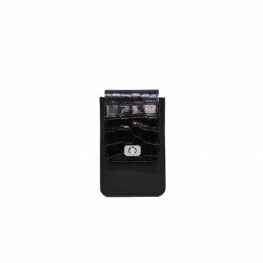 PHONE BOX ET CHAINE - BLACK FULL-GRAIN & BLACK SHINY CROCO & CAMEL SMOOTH & BLACK FULL-GRAIN