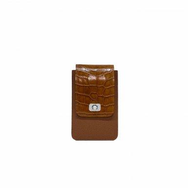 PHONE BOX ET CHAINE - CAMEL FULL-GRAIN & CAMEL SHINY CROCO & MANGO SMOOTH & CAMEL FULL-GRAIN