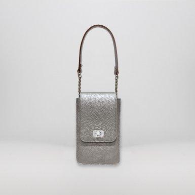 PHONE BOX ET CHAINE - SILVER METALLIC & SILVER METALLIC & UNDERSIDE IN LEATHER FINISH & SILVER METALLIC