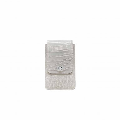 PHONE BOX ET CHAINE - WHITE FULL-GRAIN & WHITE SHINY CROCO & CAMEL SMOOTH & WHITE FULL-GRAIN