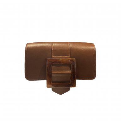 RABAT GUS BOUCLE CARREE - CAMEL SMOOTH & BROWN RESIN & UNDERSIDE IN LEATHER FINISH & CAMEL SMOOTH
