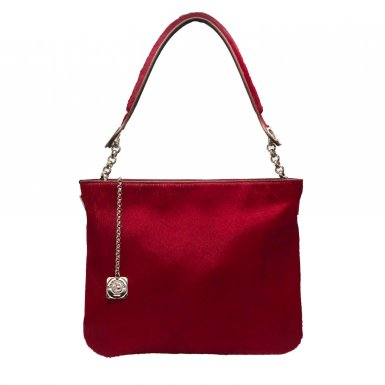 RED FUR AND RED LEATHER SQUARE POCKET - RED FUR SHOULDER-CARRY HANDLE