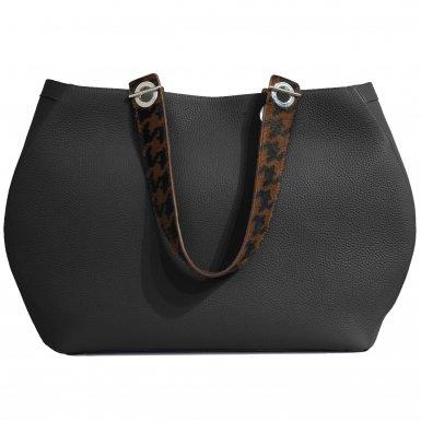 SHOPPING BAG 48H - BLACK & CAMEL-BLACK SHOULDER-CARRY HANDLE